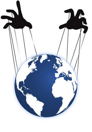 Earth with to hands that plays lika a marionette
