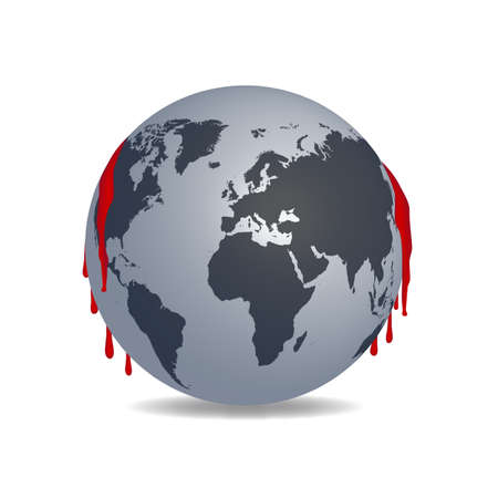 Earth with red blood Vector