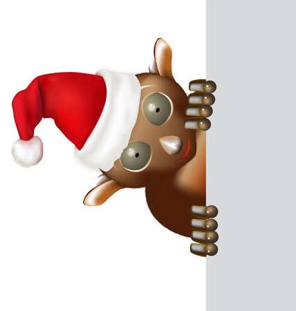 marvel: Tarsier Blick von der rechten Seite mit gro�en Augen und Hut Weihnachten Illustration