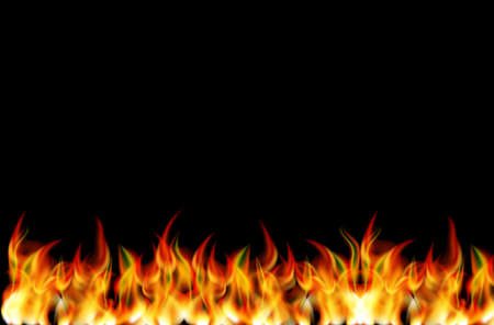 Realistic looking fire on black backgrund Ilustrace