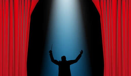 mozart: Red curtain with blue spotlight and conductor