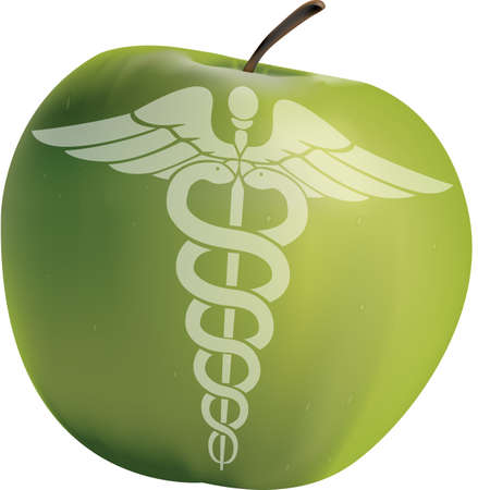Apple with the symbol of medicine Vector