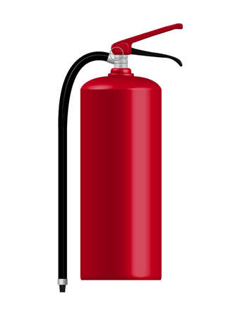 Red Fire extinguisher on white background photo