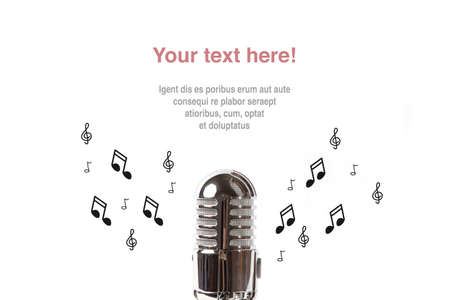 podcasting: Vintage microphone with sheet music on white background