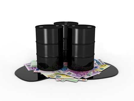 scarce resources: Oil barrels on euro notes on white background