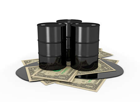 scarce resources: Oil barrels on dollar notes on white background Stock Photo
