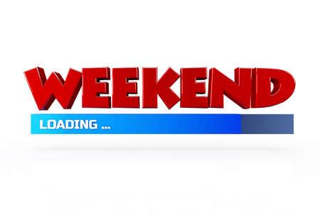 positiveness: Fin de semana de carga 3D sobre fondo blanco