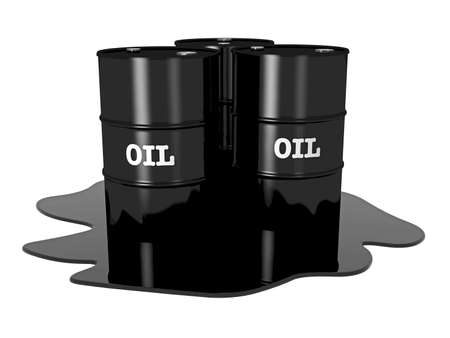 scarce resources: Oil barrels on white background