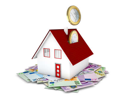 housebuilding:  Euro coins falling in house concept on white background Stock Photo
