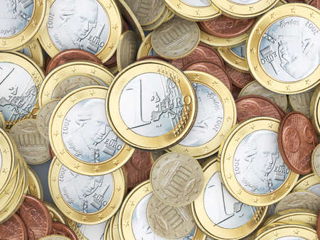 quantitative: Lots of euro coins in detail Stock Photo