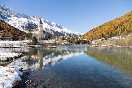 Church with lake in the alps (SuldenSoldaItaly)