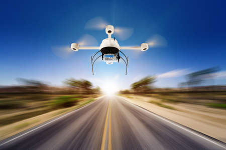 Modern drone (quadrocopter) in action