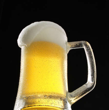 Close up shot of a cup of beer         Stock Photo