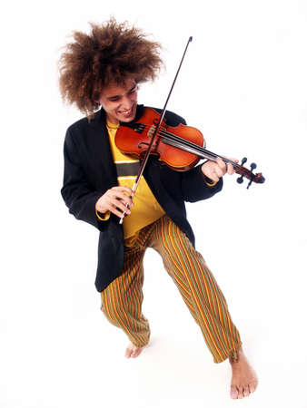 Young man with afro hairstyle playing a violin
