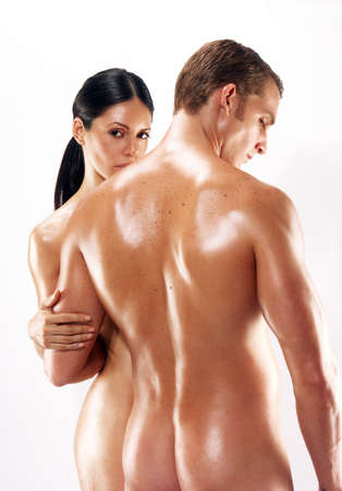 naked: Portrait of young naked couple on white background