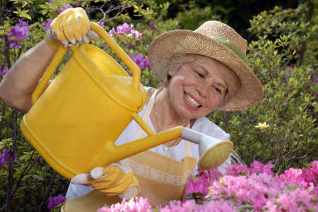Elderly woman watering the plants Stock Photo - 22597912