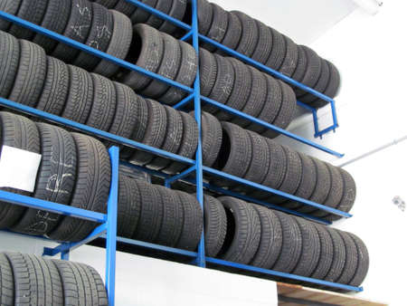 warehouse equipment: Car rubber tires on shelves