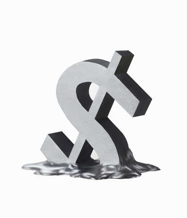 Melting dollar sign on white background photo