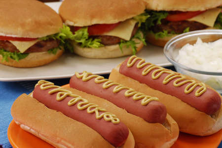 Hotdogs and burgers placed on the table