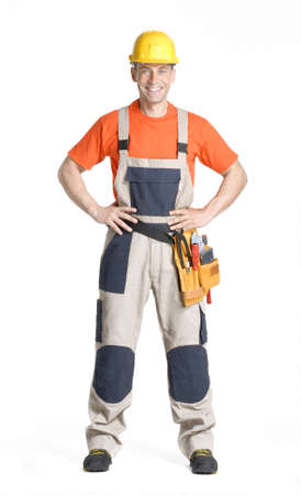 Construction worker with his hands on his waist Stock Photo