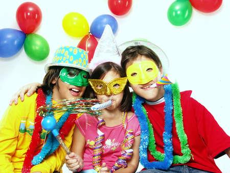 Three carnival kids having fun together