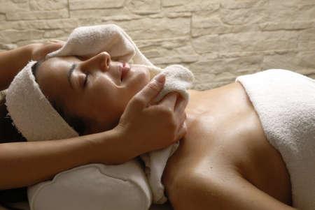 Woman having body spa and massage Stock Photo