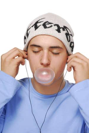 bubblegum: Young boy blows a bubblegum Stock Photo