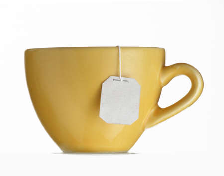 Hot teabag on yellow cup