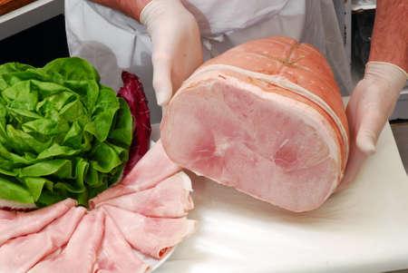 prosciutto: Sliced prosciutto ham Stock Photo