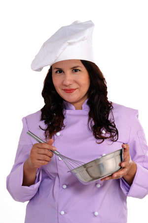 Female chef with whisk photo
