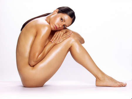Side view of a naked woman