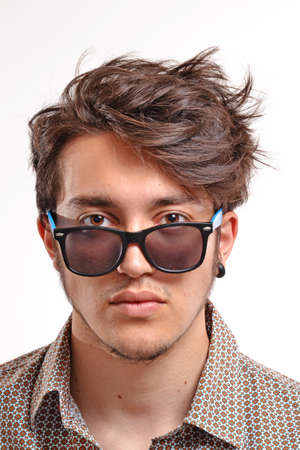 Young man with particular hair style portrait Stock Photo - 30425084