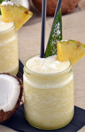 tropical fruits: Pina colada cocktail drinks and tropical fruits