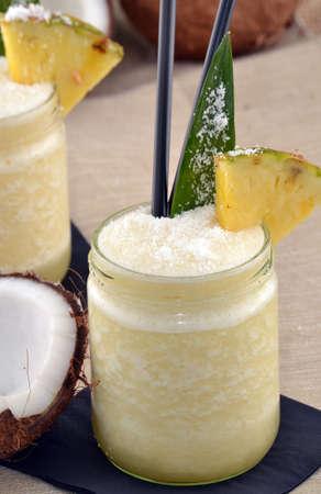 pina: Pina colada cocktail drinks and tropical fruits