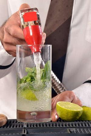 Man making cocktail