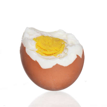 boiled egg isolated on white background. Stock Photo