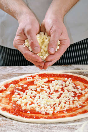 provocative food: Preparing margarita pizza adding mozzarella cheese.