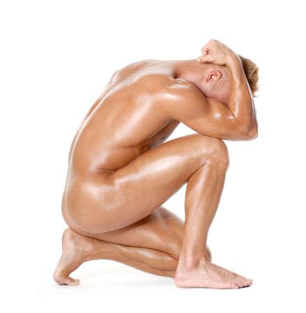 Sculpture strong nude man portrait. Stock Photo