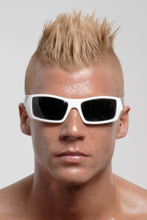 hispanic male: Happy punk style man portrait. Stock Photo