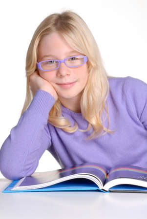 studding: School little girl reading and studding.