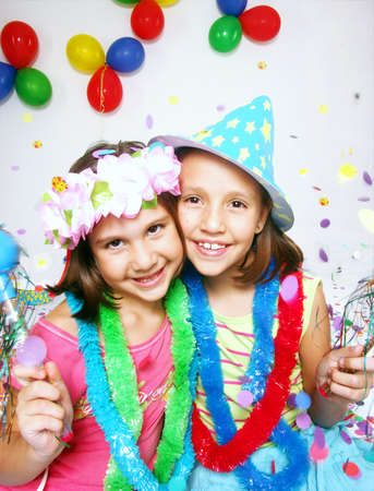 girl party: Funny carnival kids portrait