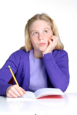 studding: Schoolgirl writing and studding.
