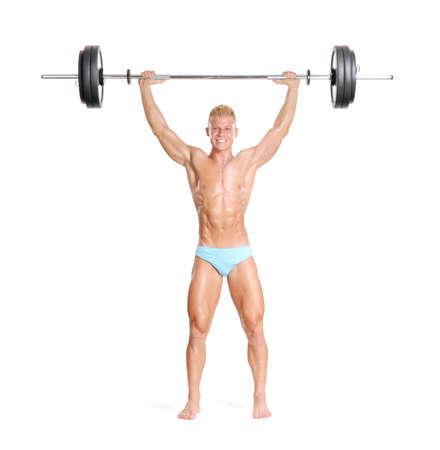 hombre fuerte: Hombre joven y fuerte que sostiene una barra.