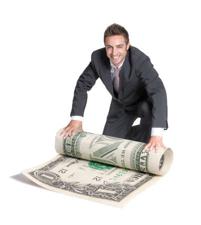 successfully: Young happy businessman holding a big dollar bill.Successful finance concept,successfully businessman,