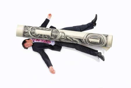 squashed: Businessman debt money concept.