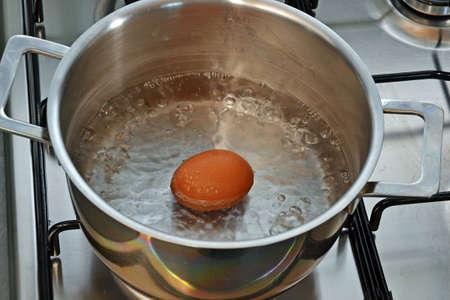 boiling: Boiling egg on metallic pan.