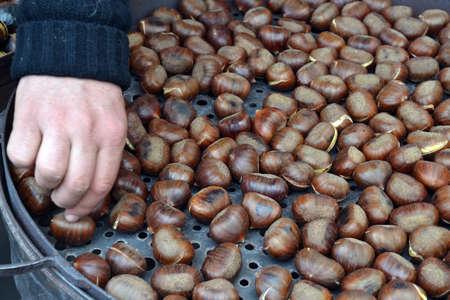roasting: Roasting chestnuts outdoors