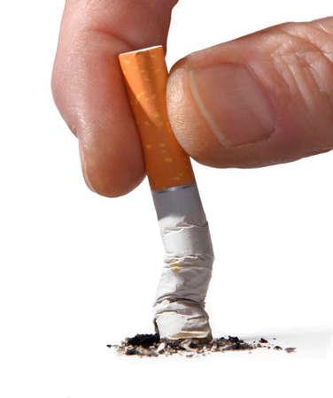 Male hand broking cigarette