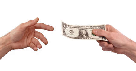 paying money: Paying money. Giving one dollar bill to another person.