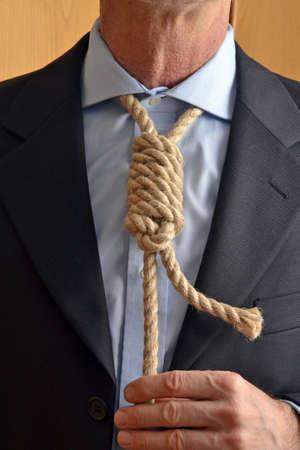 Hangman adjusting a noose rope like tie.
